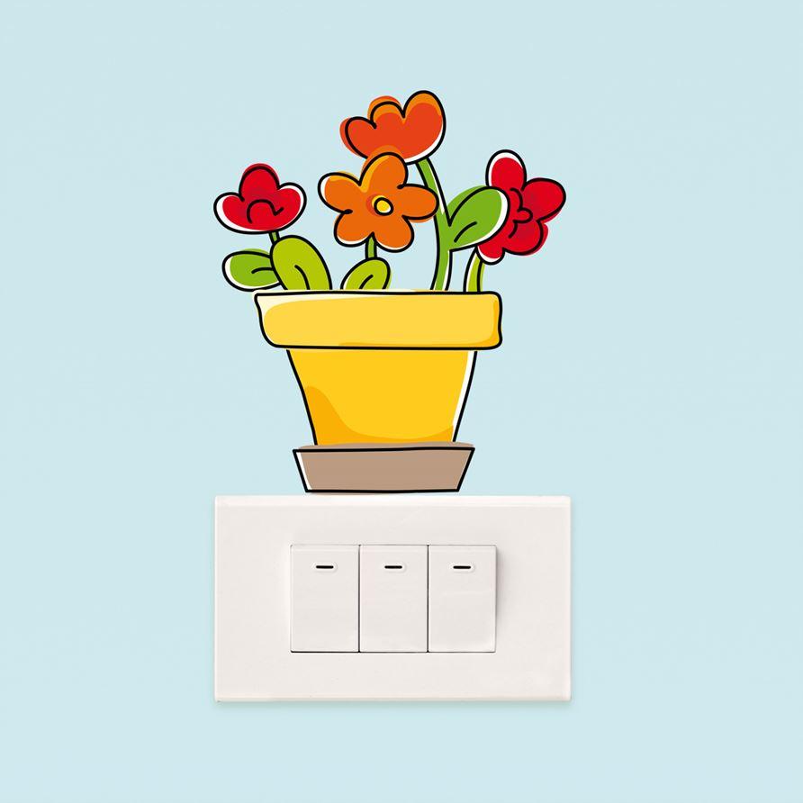 Adesivi murali vaso di fiori leostickers for Planner cameretta